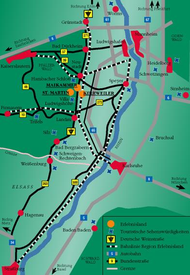 Karte der Südlichen Weinstraße